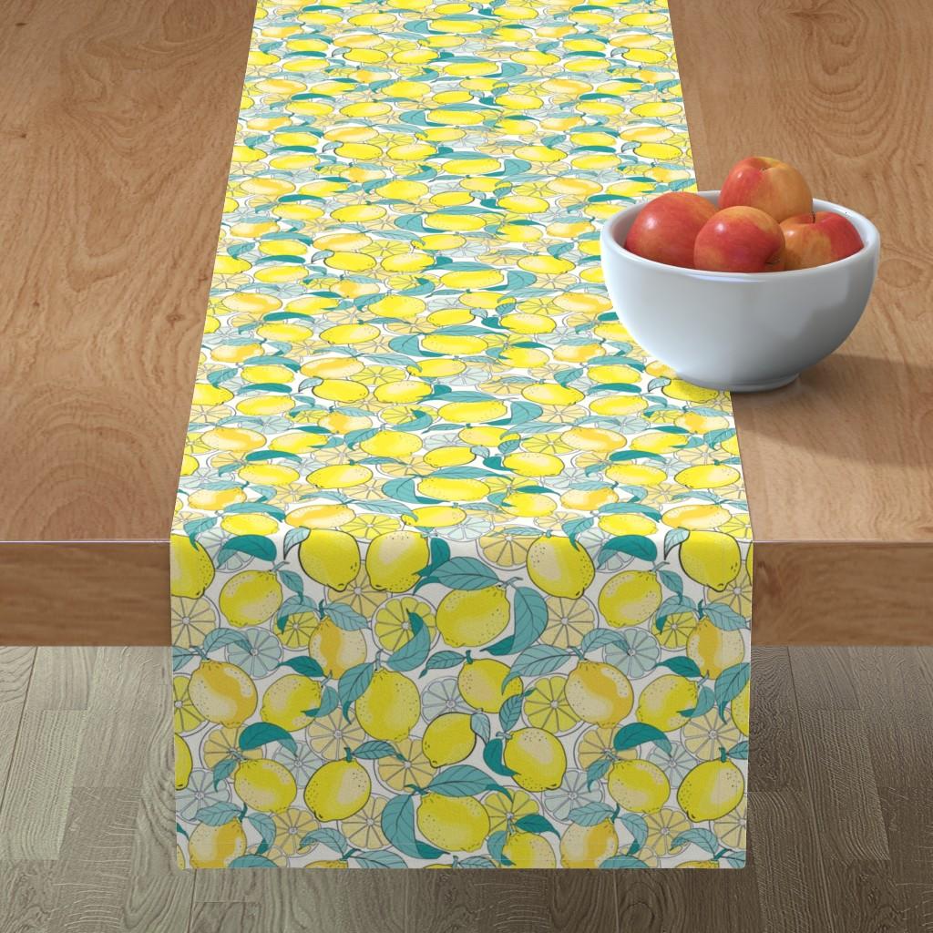 Minorca Table Runner featuring just lemons - teal by vivdesign