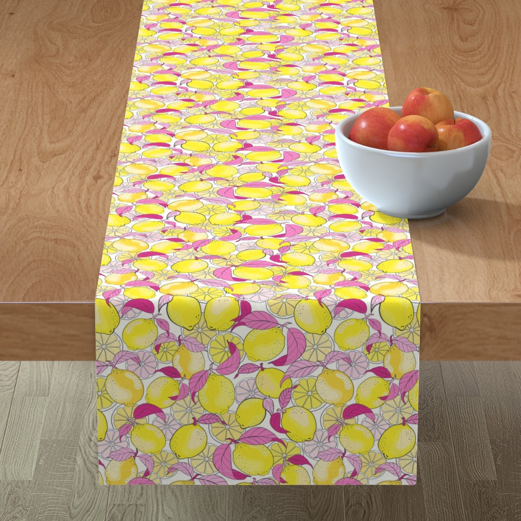 Minorca Table Runner featuring just lemons - pink by vivdesign