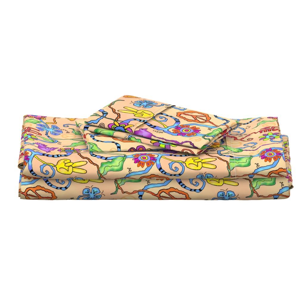 Langshan Full Bed Set featuring 1960s Hippie Garden by adrianne_vanalstine
