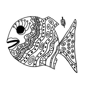 """FI_7507__L L   """"Cheerful Fish"""" of shapes and decorations black and white"""