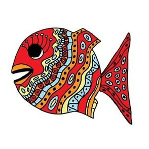 """FI_7507_D """"Cheerful Fish"""" of shapes and decorations colorful with red, yellow, orange, turquoise blue"""