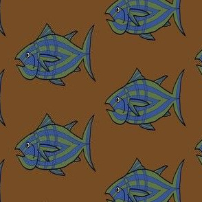 """FI_7512_D """"I'm Hungry Fish"""" of green and blue and three stripes on brown"""