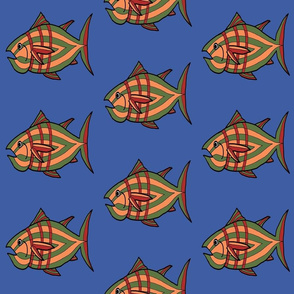"""FI_7512_F """"I'm Hungry Fish"""" of green and blue and three stripes on brown"""