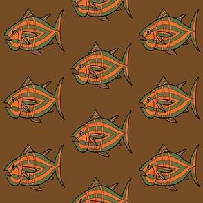 "FI_7512_G ""I'm Hungry Fish"" of orange, green, three stripes on brown"