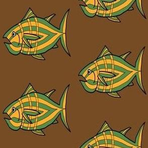 "FI_7512_H ""I'm Hungry Fish"" of saffron yellow, green, three stripes on brown"
