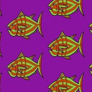 "FI_7512_N ""I'm Hungry Fish"" of green and burnt orange and three stripes on plum purple"