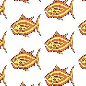 "FI_7512_Q  ""I'm Hungry Fish"" of yellow orange and three stripes on white"