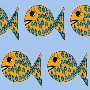 """FI_7521_B """"Buoy Fish"""" blue buoys on orange fish   with blue background"""