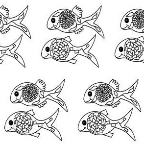 """FI_7540__L """"Duo Flower Fish"""" black and white"""