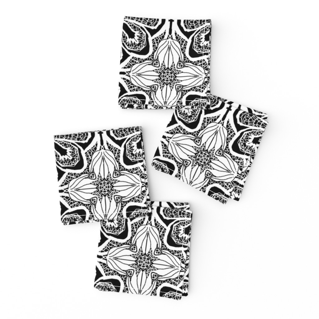 Frizzle Cocktail Napkins featuring Lacy Flowers, Black, Medium by palifino