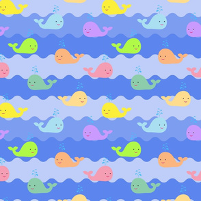 Pattern with cute colorful whales