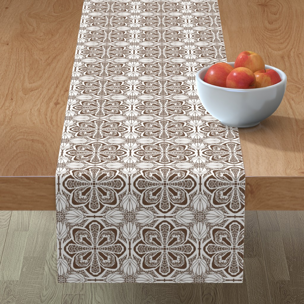 Minorca Table Runner featuring Lacy Flowers, Brown Sparkle, Medium by palifino