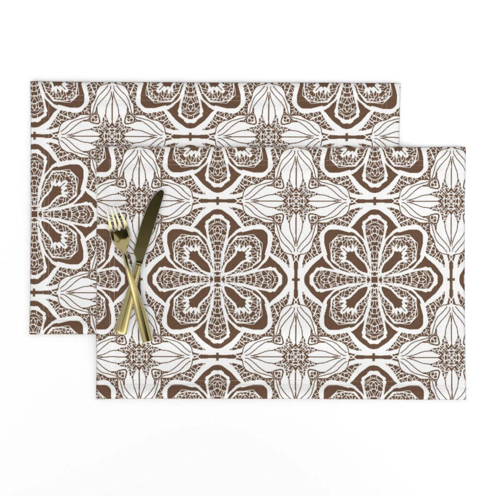 Lamona Cloth Placemats featuring Lacy Flowers, Brown Sparkle, Large by palifino
