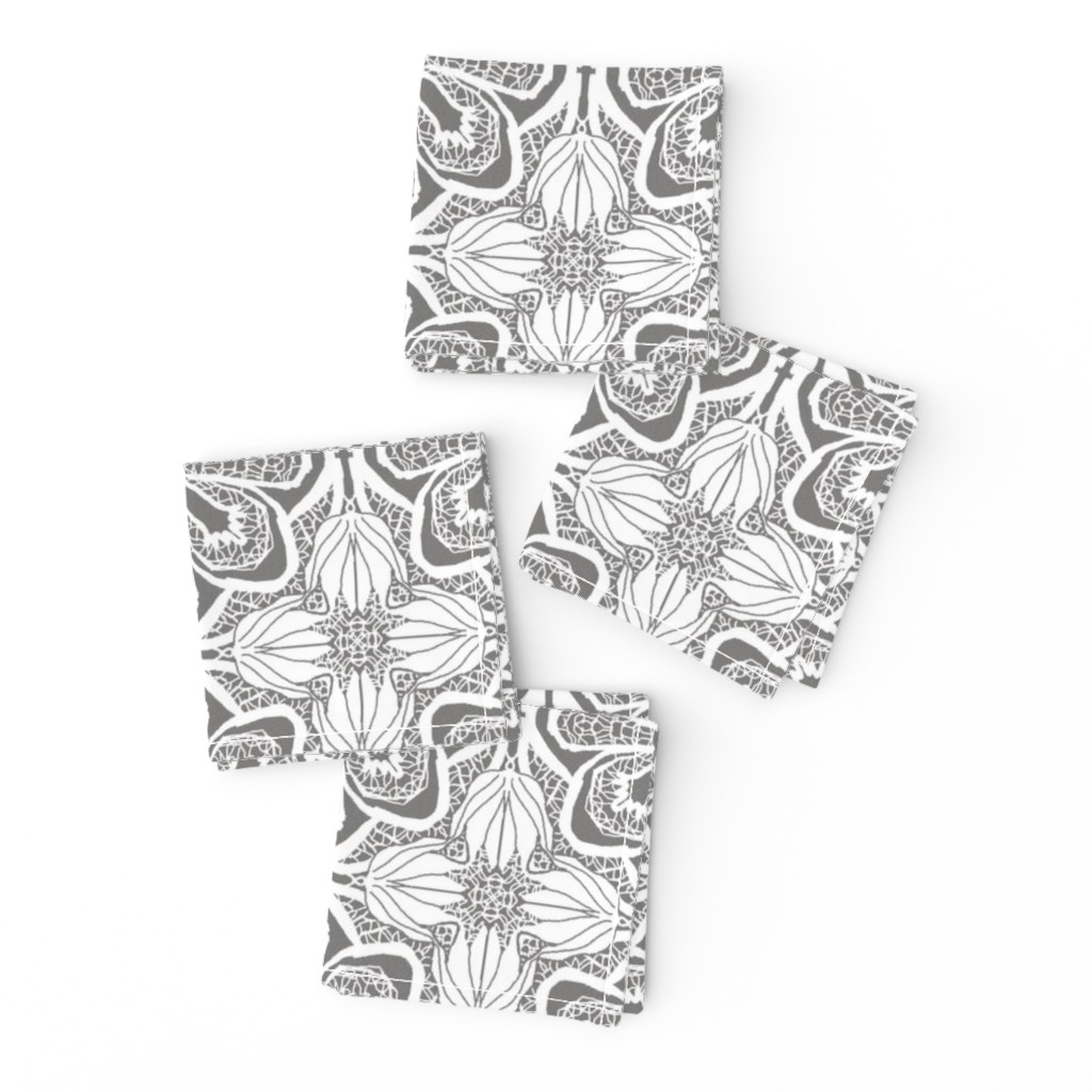 Frizzle Cocktail Napkins featuring Lacy Flowers, Gray Sparkle, Medium by palifino