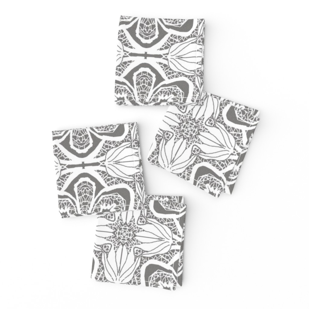 Frizzle Cocktail Napkins featuring Lacy Flowers, Gray Sparkle, Large by palifino