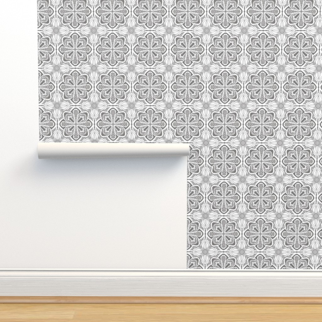 Isobar Durable Wallpaper featuring Lacy Flowers, Gray Sparkle, Large by palifino