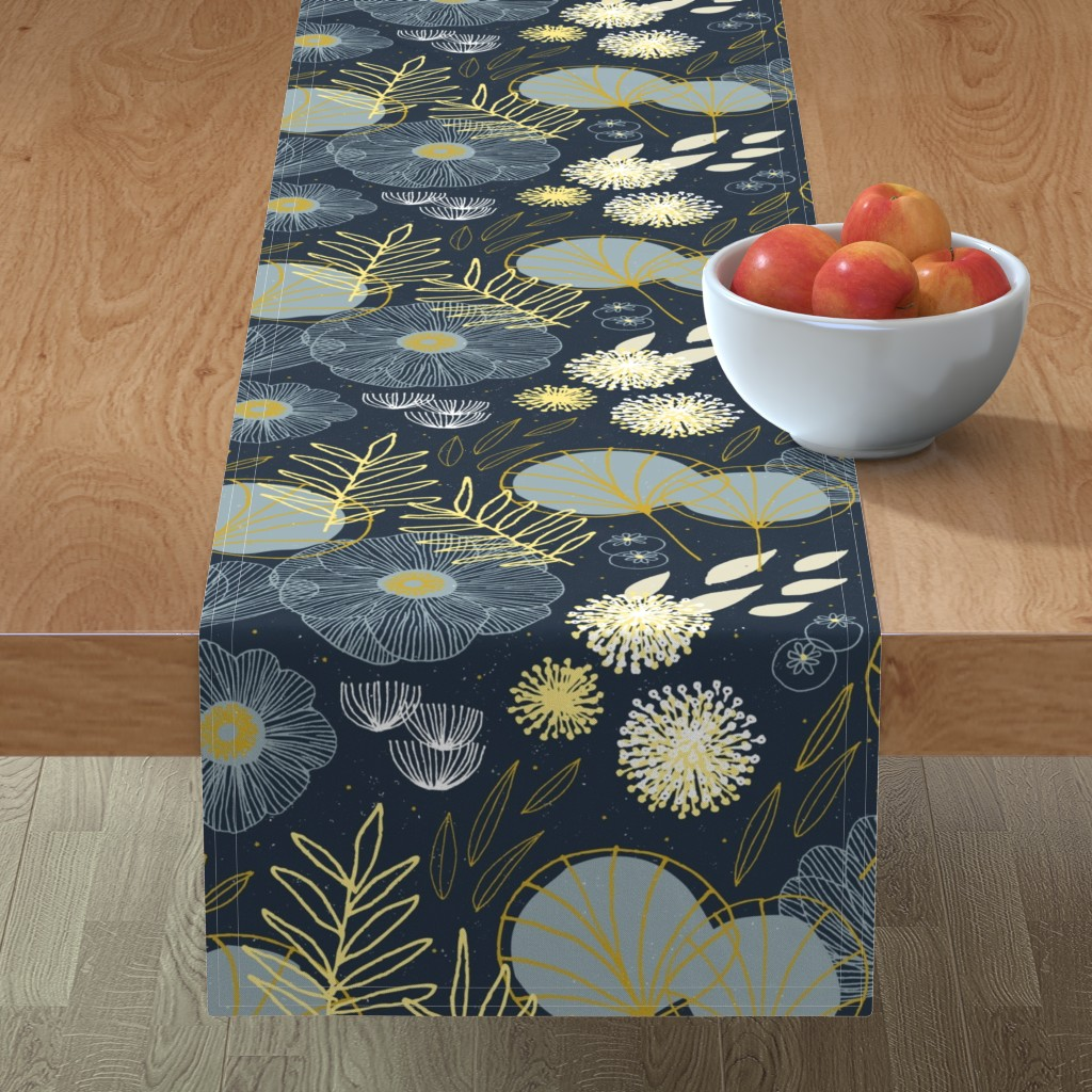 Minorca Table Runner featuring Spring Floral M+M Navy Black by Friztin by friztin