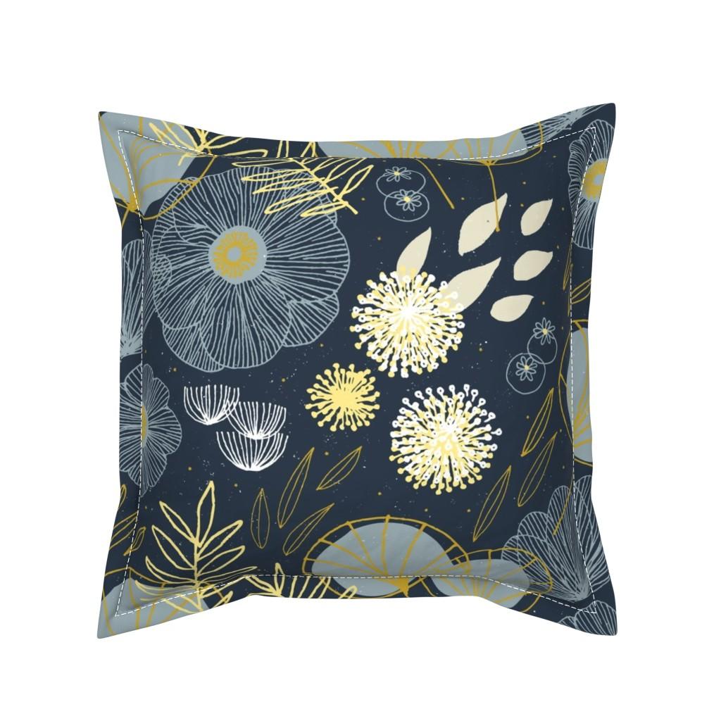 Serama Throw Pillow featuring Spring Floral M+M Navy Black by Friztin by friztin