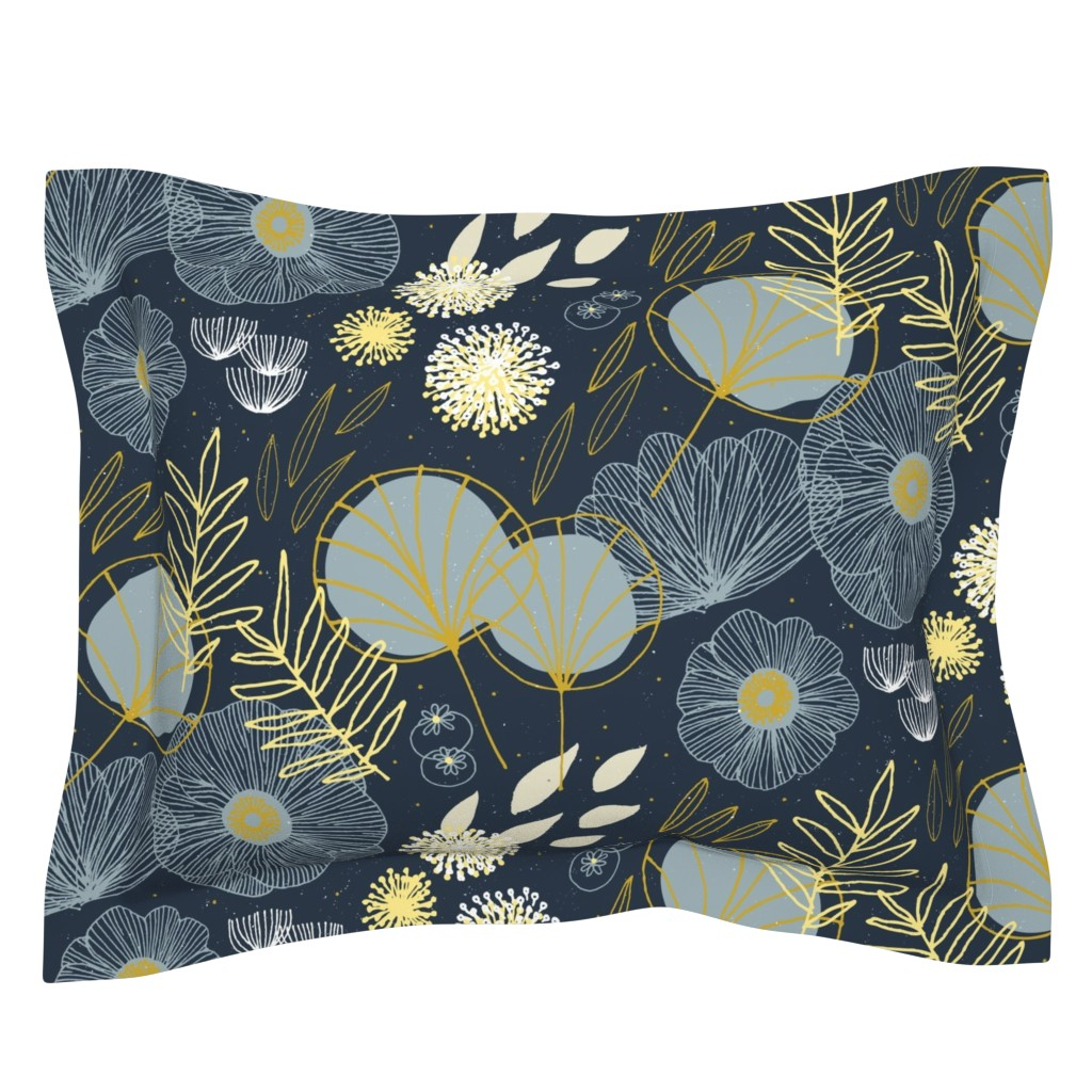 Sebright Pillow Sham featuring Spring Floral M+M Navy Black by Friztin by friztin
