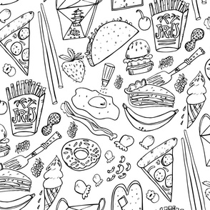 Junk Food Coloring Book fabric for Kids
