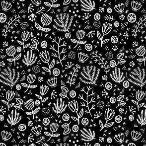 Flower Whimsy in Black