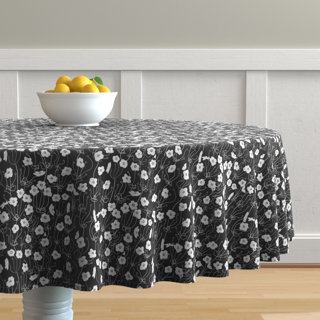 Malay Round Tablecloth featuring Japanese Anemone by karina_love
