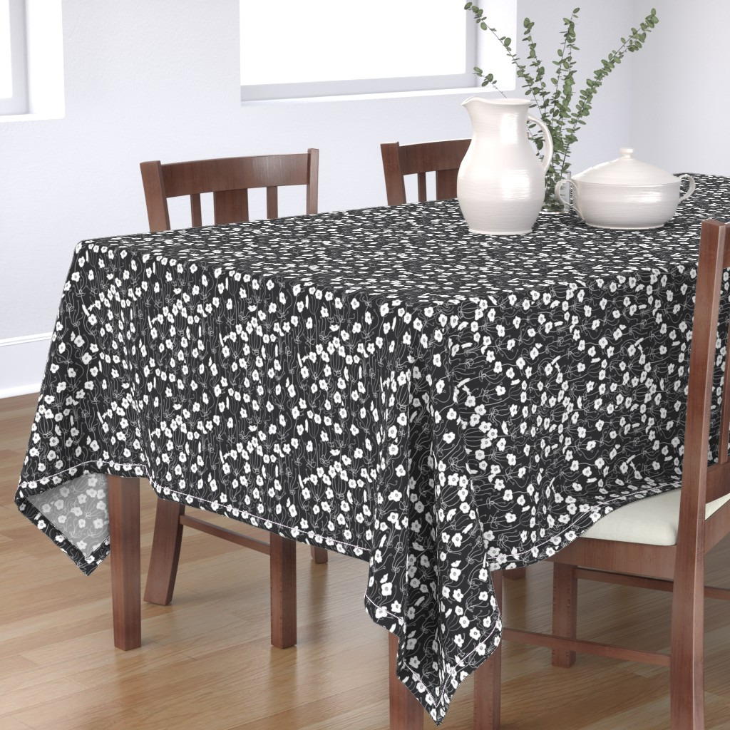 Bantam Rectangular Tablecloth featuring Japanese Anemone by karina_love