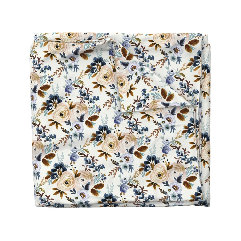 Wyandotte Duvet Cover featuring Victoria Floral blue brown by crystal_walen