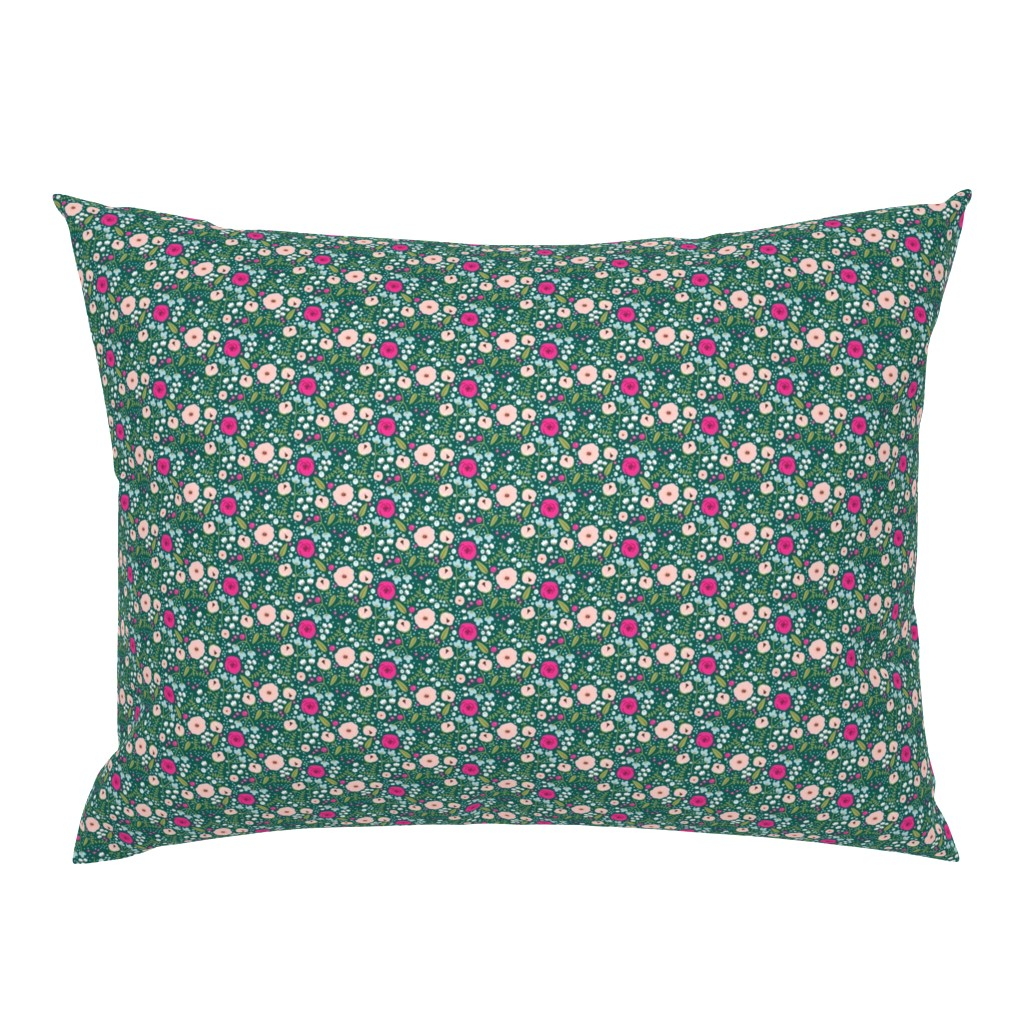 Campine Pillow Sham featuring PInk Flower Garden by sobonnydesigns