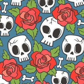 Skulls and Roses Red on Dark Blue Navy