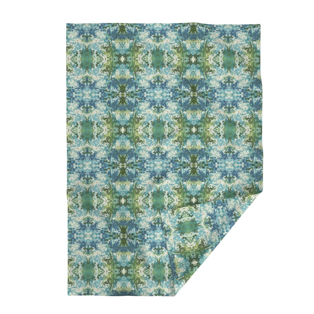 Lakenvelder Throw Blanket featuring Mock Floral Blue and Green Ikat 2 by pissykrissy