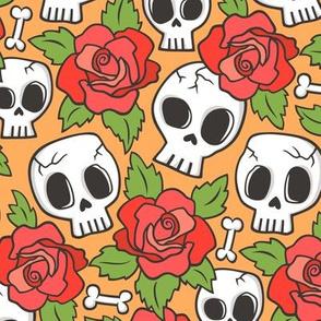 Skulls and Roses Red on Orange