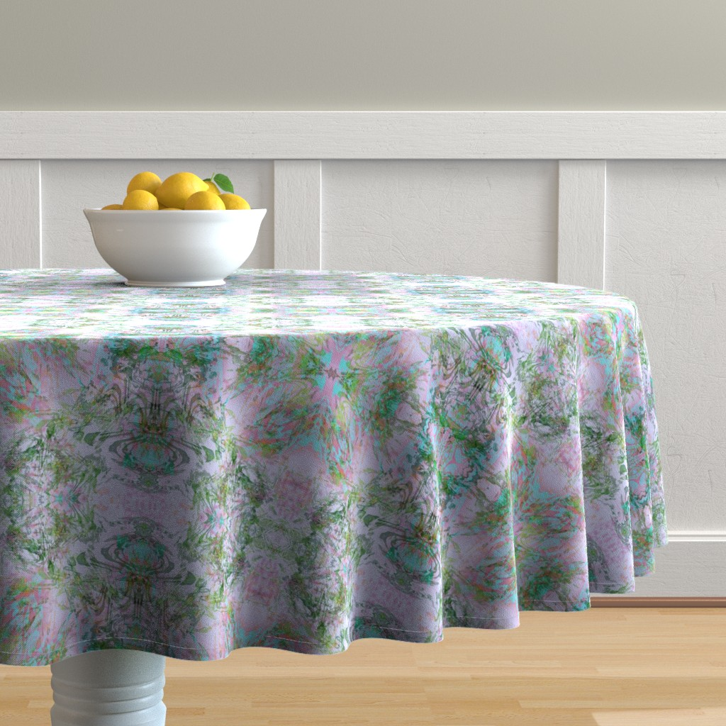 Malay Round Tablecloth featuring Mock Floral Royal Crown Pattern by pissykrissy