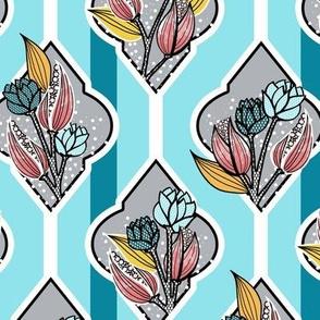 Pink, Gray, Aqua, Floral Lattice and Stripes