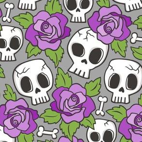 Skulls and Roses Purple on Grey