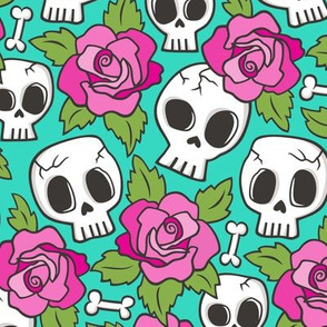 Skulls and Roses Pink on Mint Green