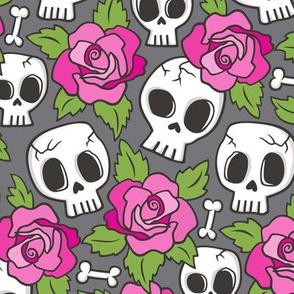 Skulls and Roses  Pink on Dark Grey
