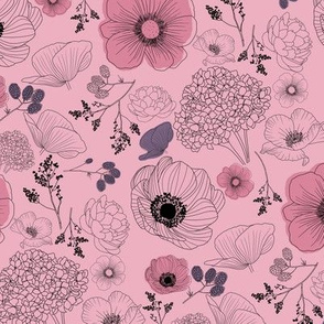 flowers outline smoky pink