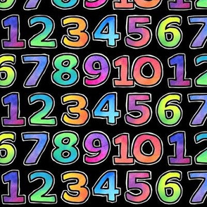 Colourful Numbers - on black