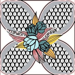 Flower Tile Quilt Squares in Pink, Aqua, Gray, Yellow