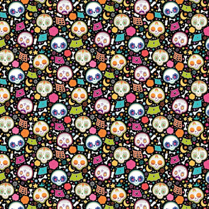 Day Of The Dead Pattern - Black