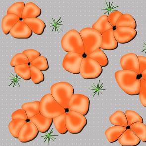 Painted Poppies Orange on Gray