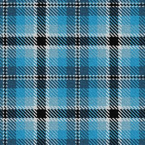 Turquoise Sky and Colonial Blue with Black and a dash of White Plaid