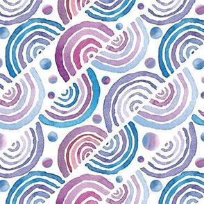 geometric watercolor semicircles