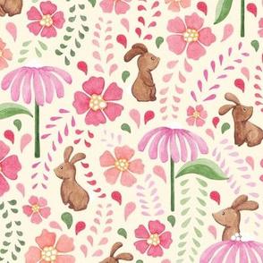 Bunny floral - multicolour on cream
