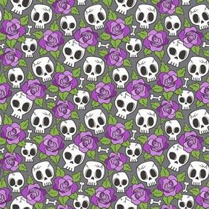 Skulls and Roses Purple on Dark Grey Tiny Small 1 inch