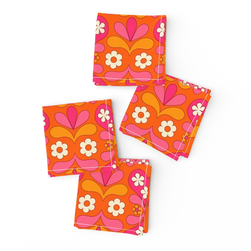 Frizzle Cocktail Napkins featuring paisley heart orange by aliceapple
