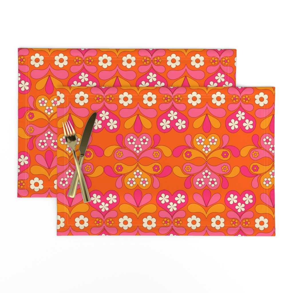 Lamona Cloth Placemats featuring paisley heart orange by aliceapple