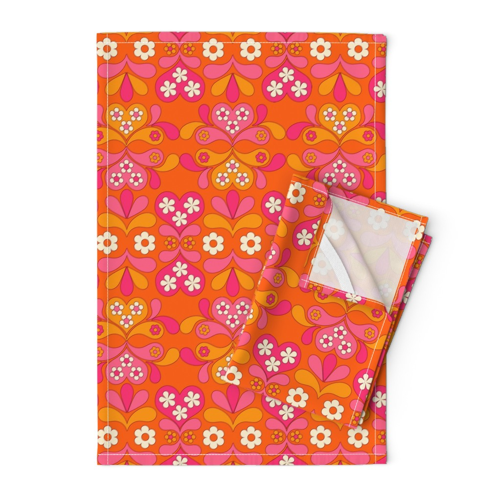 Orpington Tea Towels featuring paisley heart orange by aliceapple