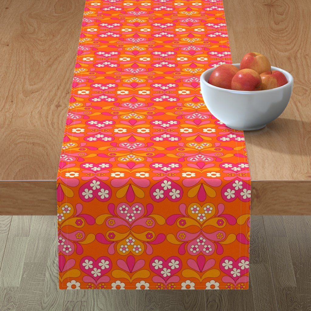 Minorca Table Runner featuring paisley heart orange by aliceapple